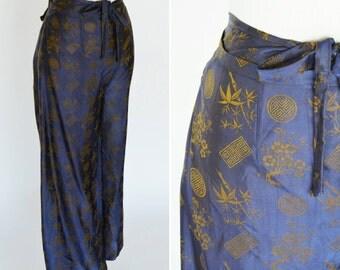 Vintage Blue Thai Silk Tie pants - open sided waist tie pants - Shimmering Blue and Bronze Silk Pants - ladies size medium