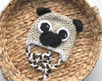 Crocheted Hat | Pug Boy