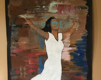 "Contemporary abstract figurative black art by Parrish Monk  ""Blessed"""