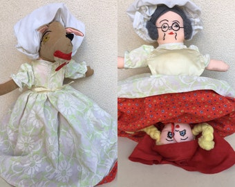 Vintage fabric 3 in 1 doll Riding Hood Grandma and wolf reversible
