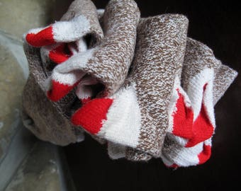 6 Pair Sock Monkey Socks, Red Heel, Heather brown, Lot, Craft Sock,