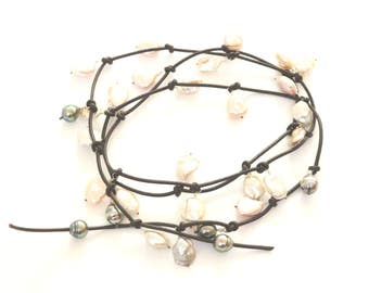 Large Keshi Pearl and lLeather Necklace,  Long  Pearl Lariat  Wrap Necklace ARTISAN HANDMADE by Sheri Beryl