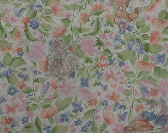 Vintage Voile Fabric, Lightweight Fabric, Sheer Fabric, Lightweight Floral Fabric, Vintage Fabric by the Yard - 1 Yard - SF1920