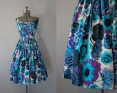 1960's Blue Underwater Flowers Cotton Dress / Size Large