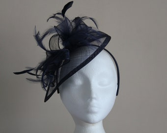 Navy Midnight Blue Fascinator & Feather Fascinator on hairband, races, weddings, Ascot, Mother of Bride, Kentucky Derby