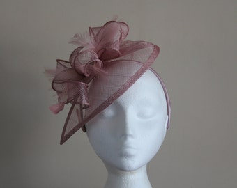 Heather Pink Sinamay and Feather Fascinator Formal Hat on a hair band, Kentucky Derby, Ascot, Melbourne Cup