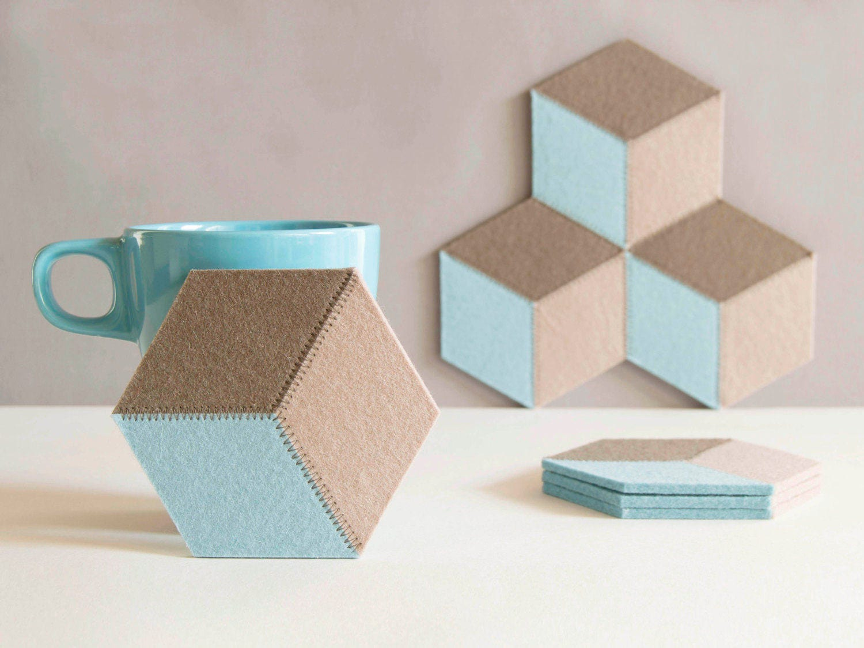 Set Of Felt Coasters Hexagonal Coasters Pastel Colors