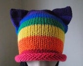 Rainbow Cat Ear Hat, diversity pussycat hat, striped watch cap with ears, bright beanie hat, roll edge cap, presidential protest hat