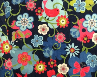 Corduroy Fabric / Floral Corduroy Fabric / Bird Corduroy / Cotton Corduroy Fabric / Fine Wale Corduroy / Light Weight Corduroy