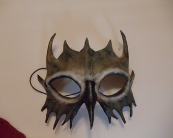 Leather Brown-Gray Leather Mask
