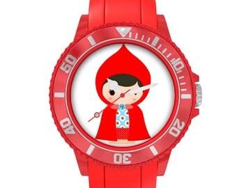 """montre plastique rouge """"Le petit Chaperon Rouge"""""""