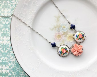 Vintage Inspired Flower & Blue Jewel Necklace, Pink Flower Necklace, Flower Cameo, Silver, 19 inch necklace