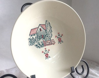 Christmas Sale Vintage Stetson Serving Bowl Red Barn White China Hand Decorated Dish