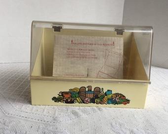 Recipe Card File Container / Vintage Melamine Plastic Kitchen Storage