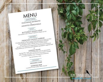 Printable Wedding Menu   Modern Simple Menu   Grey U0026 Blue Wedding Dinner  Menu   Lunch