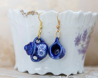 Delicate silver plated earrings with blue miniature porcelain tea set pieces, miniature cute shabby chic style tea pot earrings, gold plated