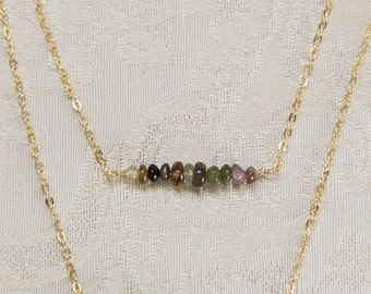Gemstone bar layerling rose gold, silver, gold necklace, natural opal, moonstone, spinel, emerald, dainty simple genuine gemstone bead bar