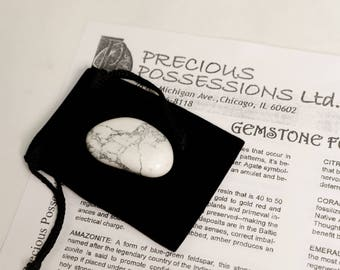 "Howlite Tumbled Stone Size Medium White Gray Stone 1-1.75"" With Bag"