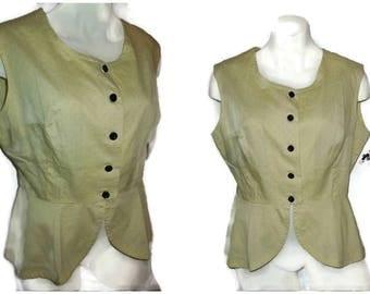 SALE Vintage 1950s Blouse Yellow Sleeveless Summer Blouse Peplum Waist Polkadot Pattern Rockabilly L chest to 42 in