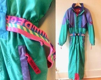 Vintage 80s Degree 7 Ski Suit Apres Ski Snowsuit Womens Medium - Large