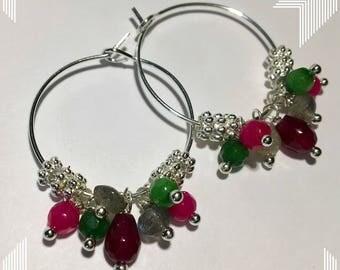 Hoop earrings with multicoloured precious stones ... Unique piece!!!