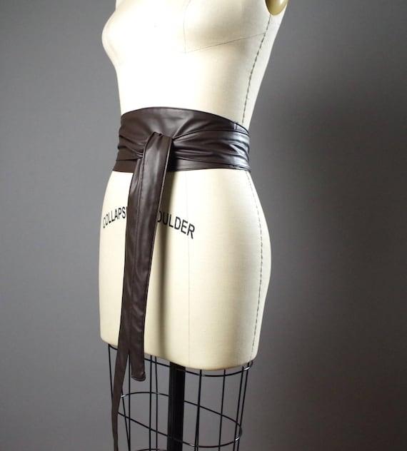 Vegan Leather Obi Belt - Brown Vegan Leather Obi Belt - Women's Wrap Belt - Up-cycled Obi Belt - Boho Brown Belt