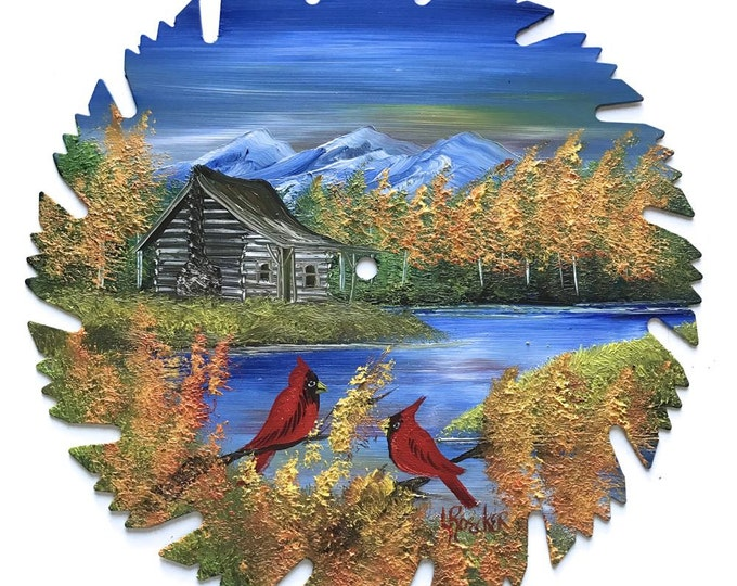 Hand Painted Saw Blade Mountain Cabin Fall Cardinals