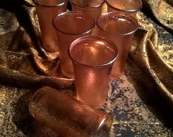 Carnival Glass Juice Glasses In Marigold Tree Bark Set of 7