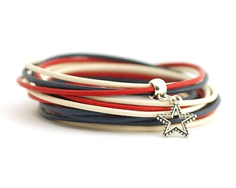 4th July usa bracelet,American flag colors, Patriotic Jewelry, Marine Style Bracelet, Red Navy White Wrap Bracelet, gift for her