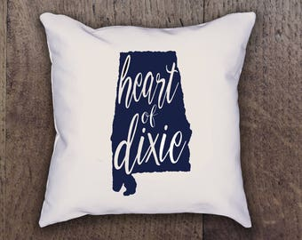 Heart of Dixie Alabama State Pillow Cover - Graphic Pillow Sham - Custom Linen Pillow Cover - Pillow Cover - Southern Girls Collection