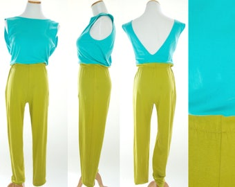 Vintage Jumpsuit, Jumpsuit Womens, Vintage Jumpsuit, Aqua Jumpsuit, Cotton Jumpsuit, 80s Jumpsuit, 1980s jumpsuit, Stirrup Jumpsuit