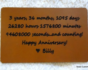 3rd Anniversary Leather Gift for Him or Her - Have Your Personalized Note Engraved on Leather for Your 3rd Wedding Anniversary