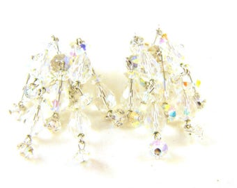 Sherman Earrings Clear Crystal Cha Cha's Clip On Style Danglers Fun Flirty High End Designer Signed Vintage
