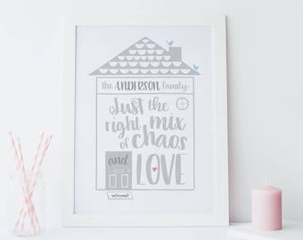 Family House Print - funny family quote - family picture - kitchen print - funny quote - housewarming gift