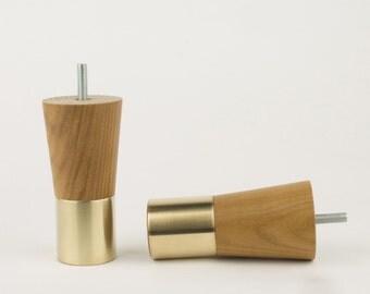 Brass Replacement Furniture Legs (Set Of 2) Mid Century Modern Replacement  Leg Teak