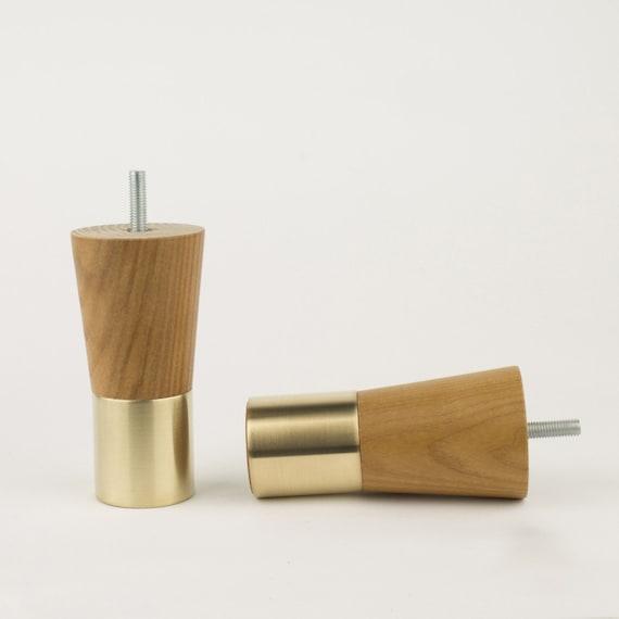Mid-century Modern Brass Furniture Legs Replacement Leg Teak