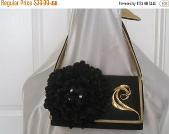 55% STORE WIDE SALE Handmade Purse Evening Bag Vintage Black Gold Vintage And Newer Pieces Ooak Gift Giving, Reminiscet of Mary Frances Purs