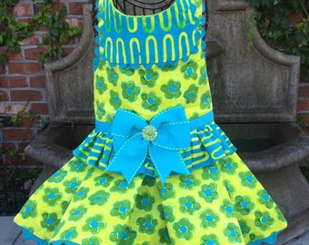 SAMPLE SALE:  Neon Yellow with Green & Turquoise Flowers Dog Dress