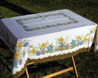 Vintage Easter Tablecloth, Retro Easter Cotton Tablecloth with daffodil flowers, painted Easter eggs, pussy willow buds, Easter Table Linens