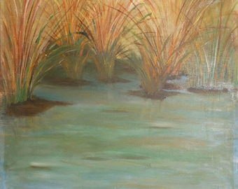 vintage oil painting grass in a pond signed