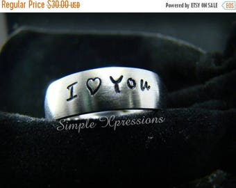 25% OFF Hand Stamped Ring - Silver Stainless Steel Ring - Comfort Fit 6mm Matte Ring with Name on It