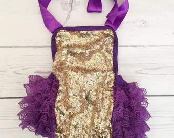 Baby girls 1st birthday outfit-purple gold glitter birthday-glitter 1st birthday dress- glitter bubble romper-baby girl cake smash outfit