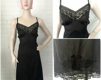 Vintage 1950s Vanity Fair Black Slip XL VOLUP