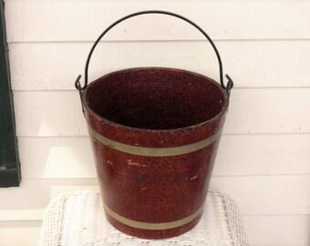 Vintage Fiber Wood Composite Bucket Pail Iron Swing Handle