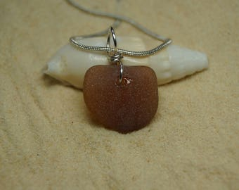 Drilled Brown Sea Glass Neclace with Sterling Silver Chain