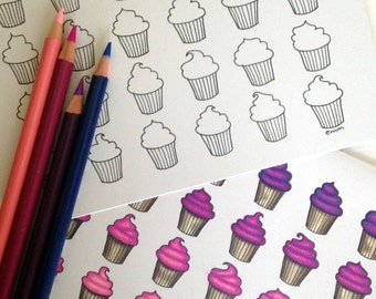 Cupcakes Birthday Coloring Card, 5x7