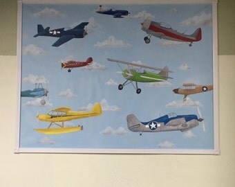 Vintage Plane Mural, Party Table Backdrop, BiPlane Mural, Murals for Kids, Vintage Airplane Mural, Vintage Airplane Painting, Airplane Mural