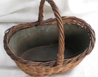 Rare Antique Woven Basket With Tin Metal Liner & Handle - Smaller Size - Vintage Storage, Display, Home Decor, Crafting, Supplies