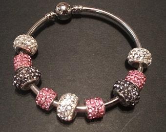Silver Charm Bracelet w/ Purple, White, & Pink Charm Beads