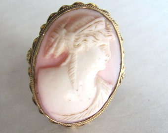 Antique Victorian Natural Angelskin Carved Coral Cameo Ring - 14K
